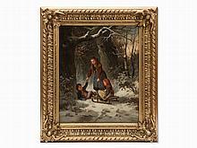 Carl Goebel, Hibernal Sleigh Ride in the Forest, Austria, 1860s