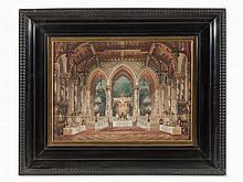 Georg Janny, Watercolor, Throne Room Interior, Austria, 1901