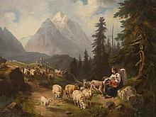 """""""Alpine Landscape with Sheep Flock"""", probably Tyrol, 19th C"""