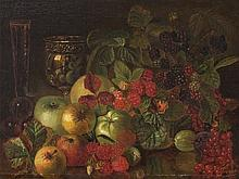 Ostentatious Still Life with Fruit, Oil Painting, 19th Century