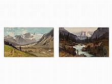 Karl Heffner (1849-1925), Pair of Alpine Landscapes, Oil, 1875