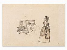 Rudolf von Alt (1812-1905), Lady and Carriage, Drawing, c. 1900