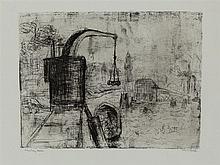 Emil Nolde, Crane in Hamburg, Etching, 1910