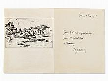 J.W. Schülein (1881-1970), Houses at the Coast, Indian Ink 1930