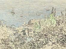 Paul Baum (1859-1932), South Italian Bay, Watercolor, c. 1900