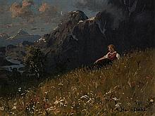 Hans Dahl (1849-1937), Girl at a Summery Fjord, Oil, c. 1910
