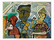 Lucebert (1924-1994), De Theetuin, Oil Painting, 1973