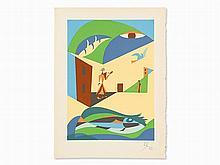 Léopold Survage (1879-1968), Le Paysan, Pochoir, 1953