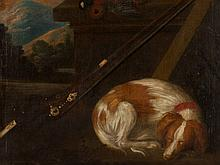 Painting 'Hunting Still Life with Sleeping Dog', 18th/19th C