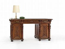 Pedestal Desk, Ornately Carved, Gründerzeit, around 1870/80