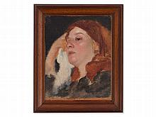 Oil painting 'Portrait of a Young Peasant Woman', around 1920