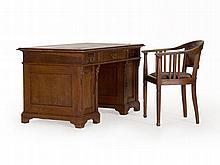 Pedestal Desk with Chair, Gründerzeit, c. 1890/1900
