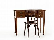 Fine Oak Ladies' Desk with Classic Bentwood Chair, c. 1900