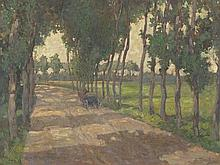 Adolf Reich, Large Oil Painting 'Horse Carriage on Path', 1912
