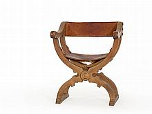 Folding Chair with Leather Seat and Back, Colombia, c. 1900