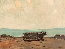Willy Friedrich Burger, Painting 'Horse Cart by a Lake' c. 1920