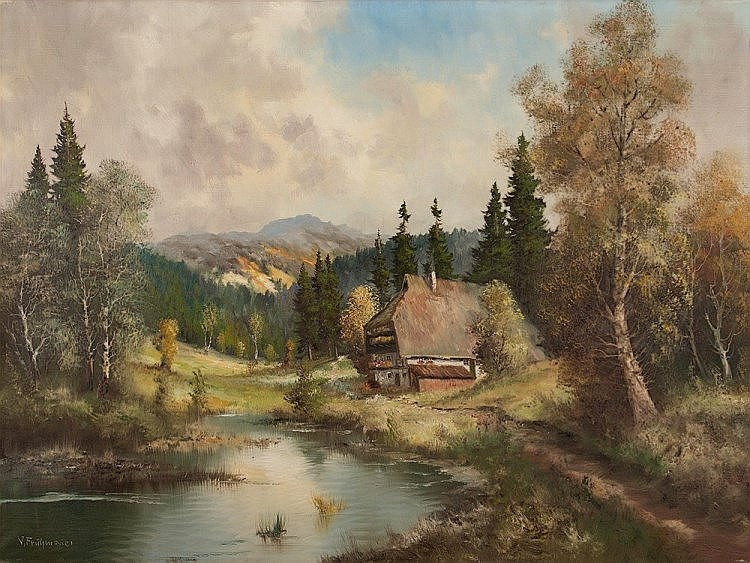 J. Frühmesser 'Farmhouse near Footpath', Painting, 20th Century