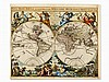 Jaillot's Decorative World Map, Nova Orbis Tabula, Paris, 1694
