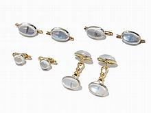 8-Piece Tailcoat Set with Moonstones in Case14K Gold, c. 1950