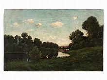 Presumably Barbizon School, Painting, Landscape, Mid-19th C.