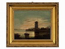 Dutch School, Oil Painting, Moonlit River Landscape, 19th C.
