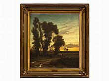 Wilhelm Huber, Oil Painting, Landscape at Sunset, c. 1850