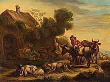 Dutch School, Painting, Landscape with Peasants, pres. 18th C.