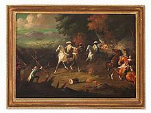 Battle Scene of Thirty Years' War, Oil Painting, 19th Century