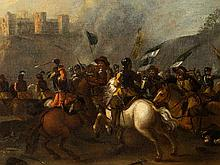 Cavalry Battle in a Vast Landscape, Oil on Canvas, 17th C.