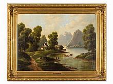 P. Cerneri, Oil Painting, Swiss Landscape with Cattle, c. 1880