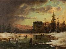 Ludwig Scheins, Oil Painting, Chateau in Winter Landscape, 1850