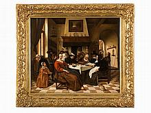 After Jan Steen (1626-1679), The King's Fest, Oil, 18th C.
