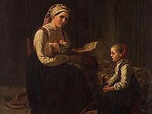 Adolph Tidemand (1814-1876), Family Scene, Oil, 1859