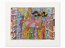 James Rizzi, Lithograph (3-D), 'Look-There Are Cows [...]', 2000