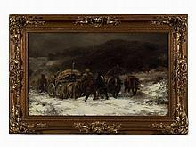 Adolf Schreyer (1828-1899), Walachisches Fuhrwerk im Schnee