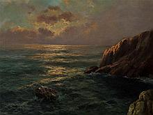 Franz Seidel (1818-1903), Dawn over Cliff, Oil Painting, 19th C