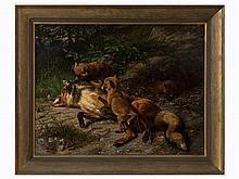 Johann Baptist Zwecker (1814-1876), Playing Foxes, 19 C.