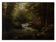 Josef Langl (1843-1916), Forest Landscape with River, Oil, 1900