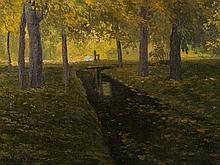Walter Stoitzner (1889-1921), Autumn Landscape, Oil, 20th C.