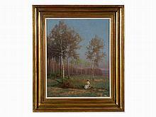 Rudolf Weber (1872-1945), Lady under Birches, Oil, 1920