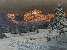 Alois Arnegger (1879-1963), Sunset Over the Alps, Oil