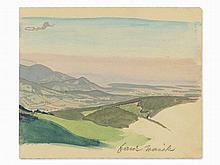 F. Wacik, Landscape during dawn, Watercolor, ca. 1920