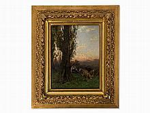 Gustav Ranzoni (1826-1900), On the Pasture, Oil, 19th C