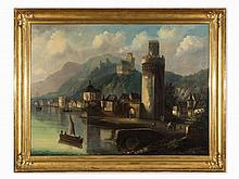 Ferdinand Lepie (1824-1883), View of Oberwesel, Oil, 1870