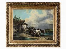 Edmund Mahlknecht (1820-1903), At the Blacksmith, Oil, 19th C.