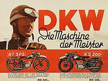 Signed advertising poster DKW motorcycles, 1938/39