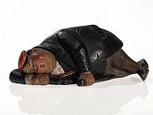 """Figural still bank """"Sleeping student"""", Austria, around 1890"""