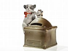 """Cute still bank """"Coffee mill with cat"""", Germany, around 1910"""