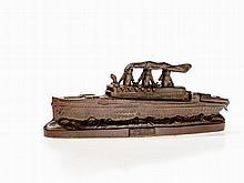 Extravagant Money Box of Steamboat, Germany, around 1910