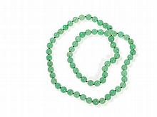 Jade Necklace in Slight Translucent, Light Green Nuances, Qing